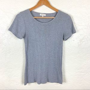 Madewell Heather Gray Ribbed Crew Neck Top Size M